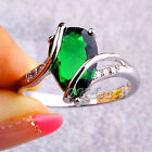 Emerald White Topaz Women Men Gems Silver Plated Jewelry Ring Size 7 8 Gift New