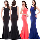 Ladies Womens Slinky Plunge Ball Gown Long Prom Full Length Evening Party Dress
