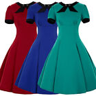 UK Womens New Bow-knot Collar Retro 1950s Vintage Pinup Party Tea Dress S-XL RED
