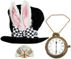 DLX BLACK TOP HAT WITH BUNNY EARS WHITE RABBIT KIT FANCY DRESS COSTUME ACCESSORY