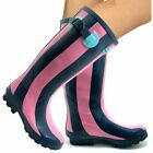 Womens Girls Wyre Valley Blue Pink Striped Wellington welly boots