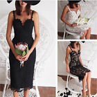 Womens Ladies Summer White Black Lace backless Cocktail Party Evening SunDress