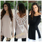 Women's Long Sleeve Shirt Fashion Loose Lace Hollowed Halter Tops Casual Blouse