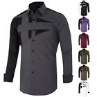 Mens Long Sleeve Casual Shirt Dress Formal Button Business Wedding Slim Fit PJ