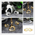 New Shiny Women's Jewelry Set Silver/Gold Stainless Steel Heart Pendant Studs