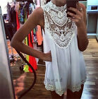 WOMEN LADIES BOHO HIPPIE LACE CHIFFON Top T Shirt SLEEVELESS Party MINI DRESS