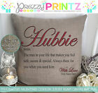 PERSONALISED HUBBIE WIFEY VALENTINES ANNIVERSARY GIFT CUSHION CANVAS LIKE BESTIE