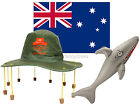 CORK HAT FLAG AND INFLATABLE SHARK AUSTRALIA DAY FANCY DRESS AUSSIE KIT RUGBY