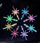 (2) Small Iridescent Aurora Snowflake Star vintage Ceramic Christmas tree twist  image