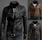 New Fashion Mens PU Leather Jacket Motorcycle Overcoat Outwear Leather Coat Tops