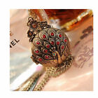 Vintage Retro Bronze Peacock Crystal Locket Pendant Long Chain Necklace Girls