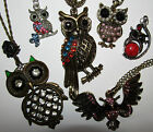 VARIOUS OWL PENDANT NECKLACES BRASS SILVERTONE CRYSTAL GIFT IDEA UK DELIVERY