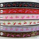 "3/8""9mm Cherry Heart Valentine Mixed Colors Grosgrain RIBBON 5 Yard High Quality"