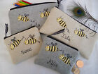 Personalised Bee Purse/Wallet or Pencil Case Grey Wool or Linen, Choice of words