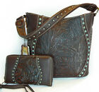 Trinity Ranch Concealed Carry, Tooled Leather Bucket Bag w/Patina Studs + Wallet