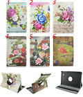 Retro Flower Floral Rotating PU Leather Case Cover For Samsung Galaxy Tab E T560