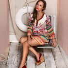 Fashion Women Ethnic Feather Print Color Striped Boho Loose Tunic Shirt Dress