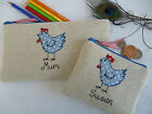 Personalised Hen Chicken Purse or Pencil Case Linen & Blue Spot Choice of words