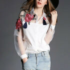 Women Europe Flower embroidery Organza Long Sleeve Cotton Blouse Shirt Top