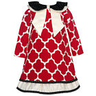 Counting Daisies Little Girls Red White Quatrefoil Christmas Dress 2T-6X