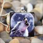 """HOWLING WOLF"" BLUE MOON COYOTE DOG CANINE GLASS TILE PENDANT NECKLACE KEYRING"