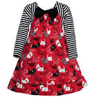 Bonnie Jean Little Girls Red Striped Scotty Dog Printed Christmas Dress 2-4T