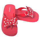 L'Amour Red Polka Dot Bow Wedge Flip Flops Sandals Little Girls 11-4
