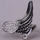 Angel wing ring stainless steel women biker bling jewelry gifts KR04 gold silver