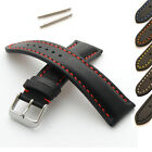 Mens Genuine Leather Watch Strap/Band - Buckle and Spring Bars - Heavy Padded