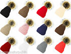 New Designer Ladies Chunky Cable Knit Fur Pom Pom Bobble Hat Beanie Cap Size
