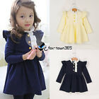 2016 Spring Autumn Baby Child Girl Kids 3 Gold Button Princess Party Dress 2-7Y