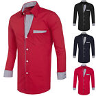 Stylish Mens Slim Fit Long Sleeve Shirt Casual Formal Tops Plus Size S~XL