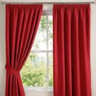 "New Red Faux Suede 3"" Tape Top PAIR Of Luxury Soft Touch Curtains In 10 Sizes"