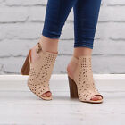 Womens Nude Chunky Block High Heel Cut Out Ankle Shoe Boots Ladies Booties Size