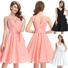 Womens Deep V-Neck Vintage Style 1950's 60s Evening Party Swing Dress