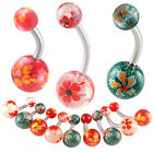 belly navel ring ball acrylic glitter button bar piercing 9ICR-PICK STYLE&SIZE
