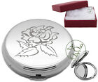 Personalised Engraved Handbag Compact Vanity Mirror English Rose Birthday Gift