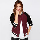 New Fashion Women's Contrast Color Long Sleeve Baseball Jackets in Wine Red