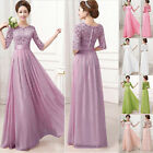 Long LACE Chiffon Formal Evening Party Gown Prom Bridesmaid Wedding Dress Size L