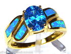 Blue Topaz Fire Opal Inlay 18k Yellow Gold Over Sterling Silver Ring Sz 6,7,8,9