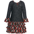 Bonnie Jean Red Black Plaid Tiered Ruffle Shirt Christmas Dress 4-6X
