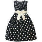 Mia Juliana Little Girls Black Ivory Polka Ribbon Bow Christmas Dress 4-6X