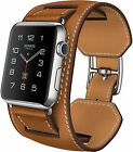 For Apple Watch Band 38mm/42mm New Single Double Tour Cuff Genuine Leather Bands