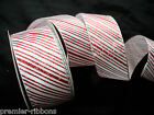 WHITE -RED GLITTER CANDY STRIPE WIRE  WIRED RIBBON 63MM WIDE  5M & 10M