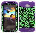 KoolKase Hybrid Silicone Cover Case for HTC One X S720e - Zebra Green