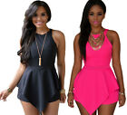 60547-Black / Pink Racer Back Irregular Peplum Shorts Playsuit Romper-UK 8-10