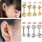 Stainless Steel Ball Ear Studs Cartilage Tragus Barbell Sparkle Earring Piercing