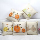 Fruit Bicycle Printed Cushion Cover Sofa Bed Square Cotton Linen Pillow Case