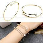 Women Simple Crystal Gold Silver Wire Line Cuff Bracelet Bangle Adjustable Gift