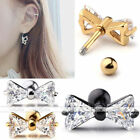 1pc 16g StainlessSteel CZ Bow Tragus Helix Ring Cartilage Ear Stud Bars Earrings